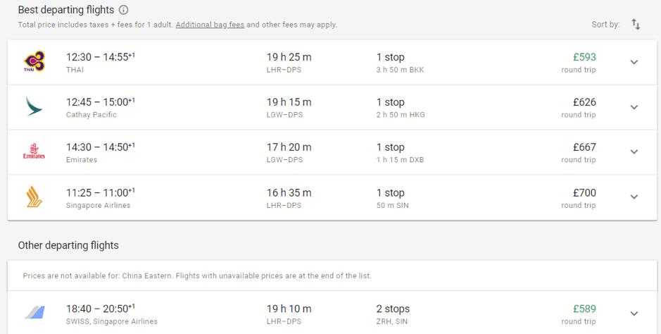 Google Flights selection